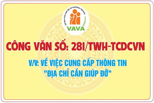 Công văn số: 281/TWH-TCDCVN về việc cung cấp thông tin