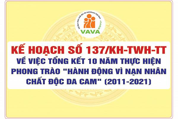 Kế hoạch số 137/kh-TWH-TT về việc Tổng kết 10 năm thực hiện phong trào